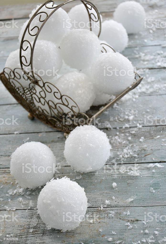 Winter Season Snowballs in a wire Basket stock photo