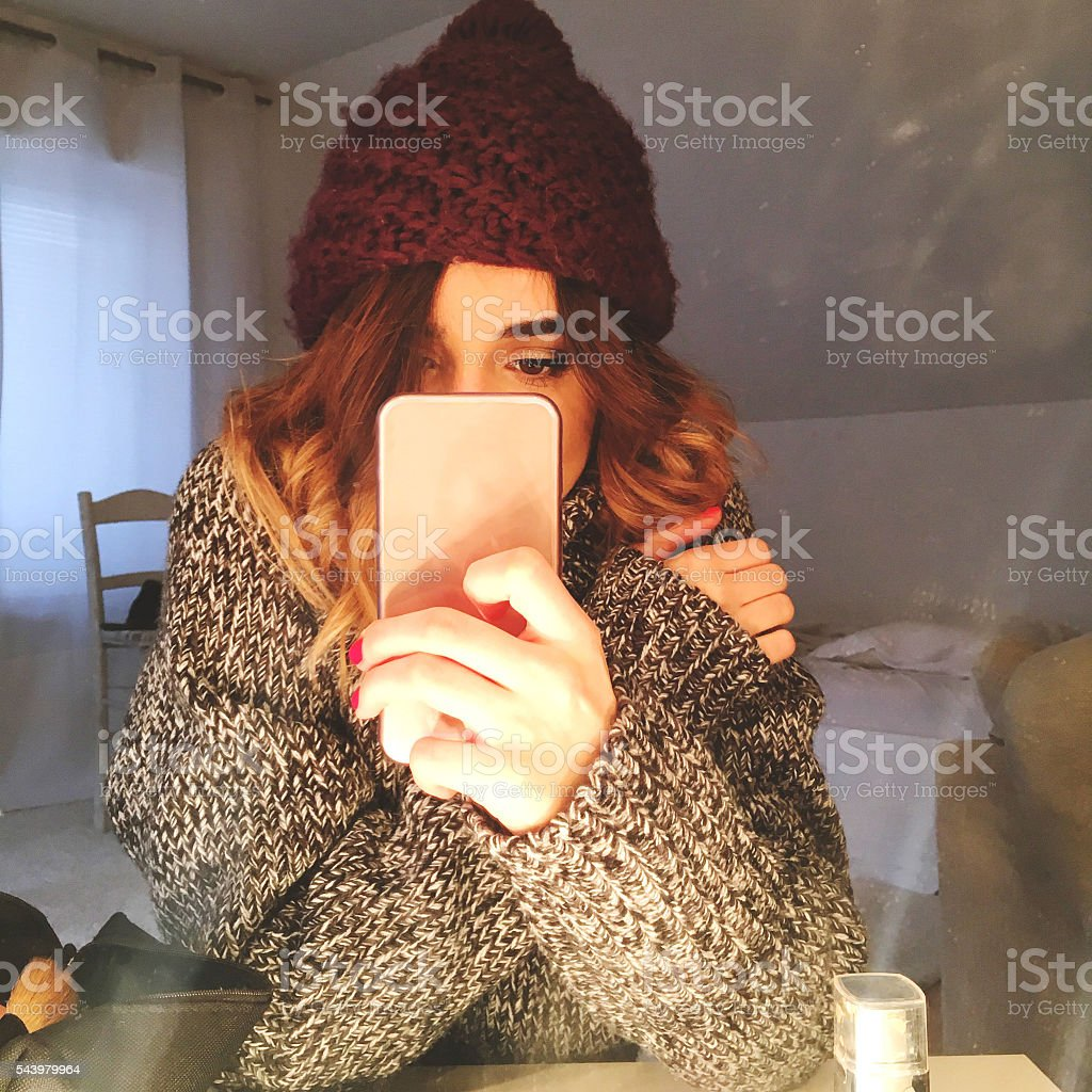 Winter selfie stock photo