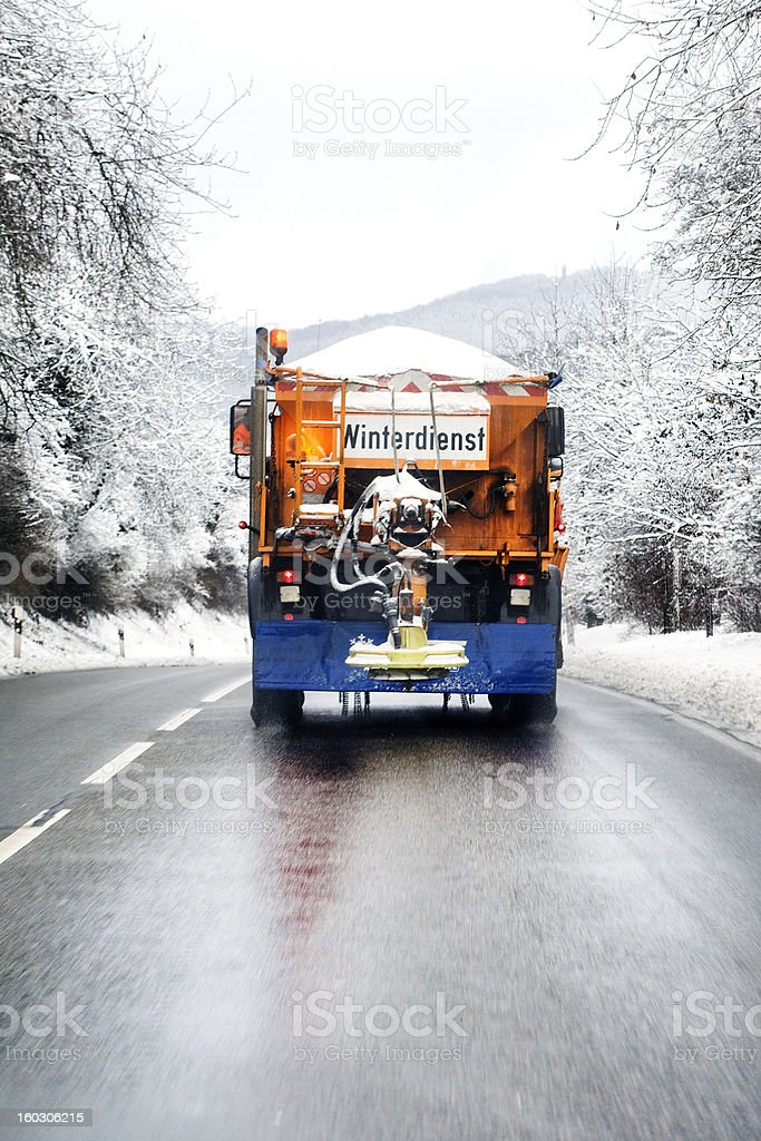 Winter service - snow plow truck royalty-free stock photo