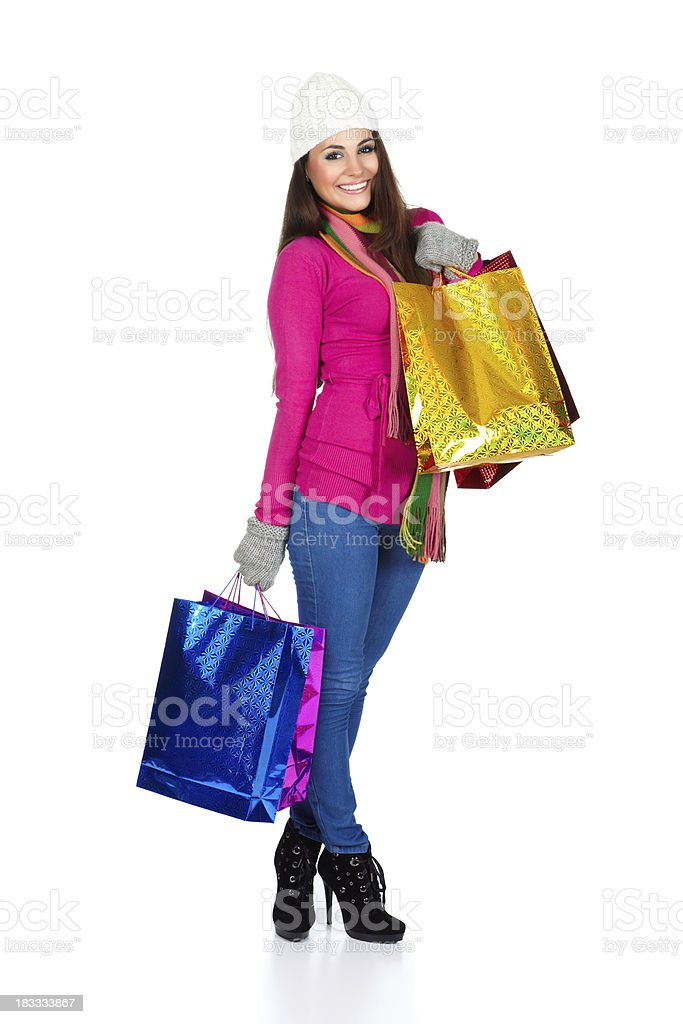 Winter shopping girl royalty-free stock photo