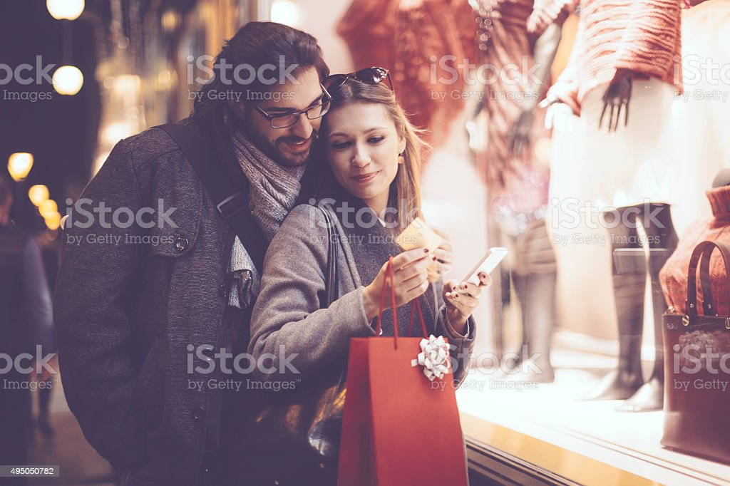 Winter shopping season stock photo