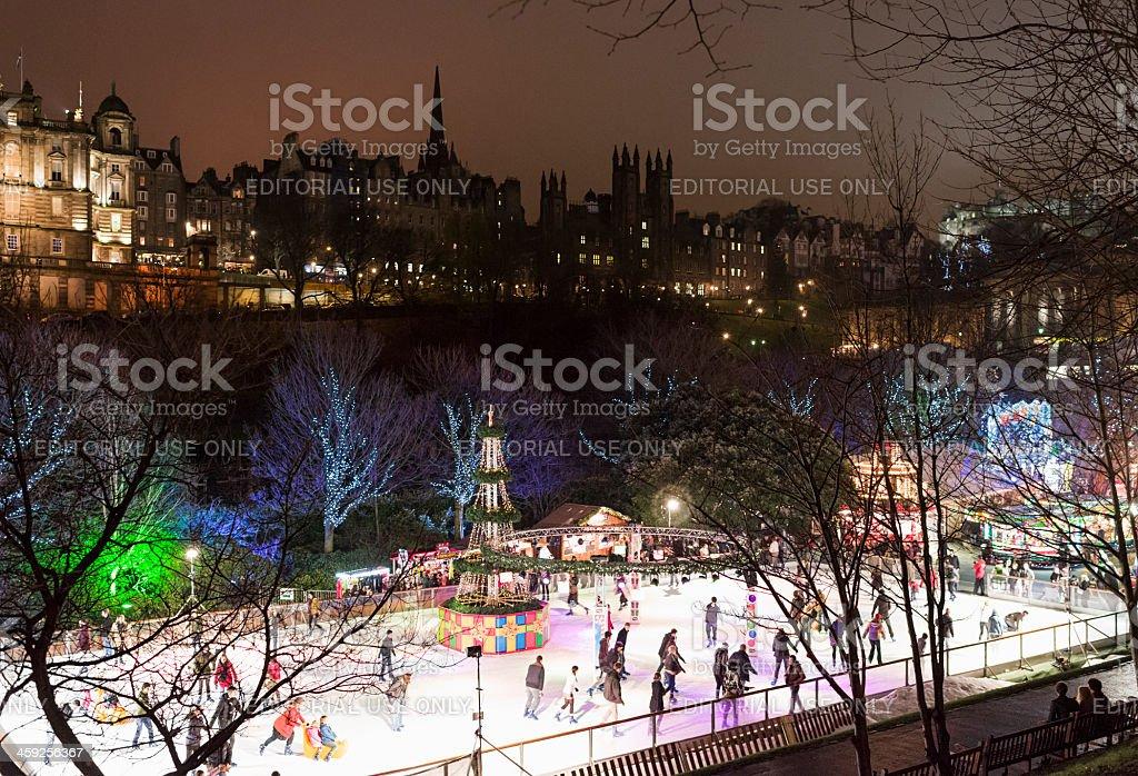 Winter Skating in Edinburgh stock photo