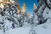 Winter ski hiking - Ski touring in Alps