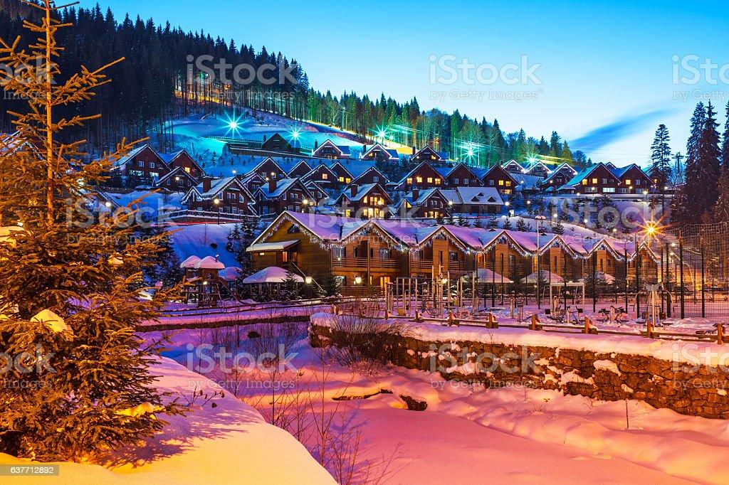 Winter ski resort Bukovel, Ukraine stock photo