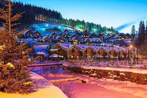 winter ski resort bukovel, ukraine - station de ski photos et images de collection