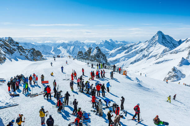 Winter ski resort Hintertux, Tyrol, Austria stock photo