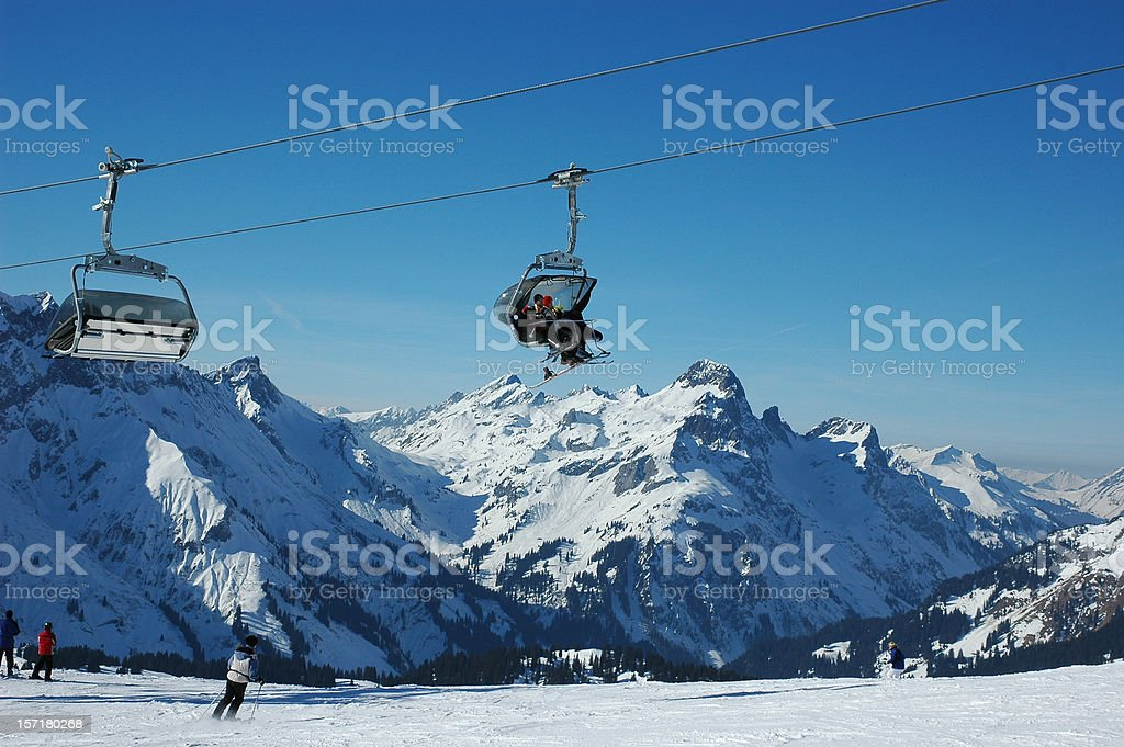 Winter Skiing in the alps stock photo