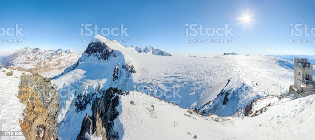 Panorama from Matterhorn Glacier Paradise viewpoint to Monte Rosa,...