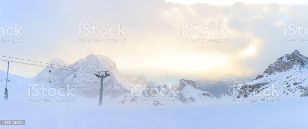 Winter storm in Breuil Cervinia mountains in Alps.