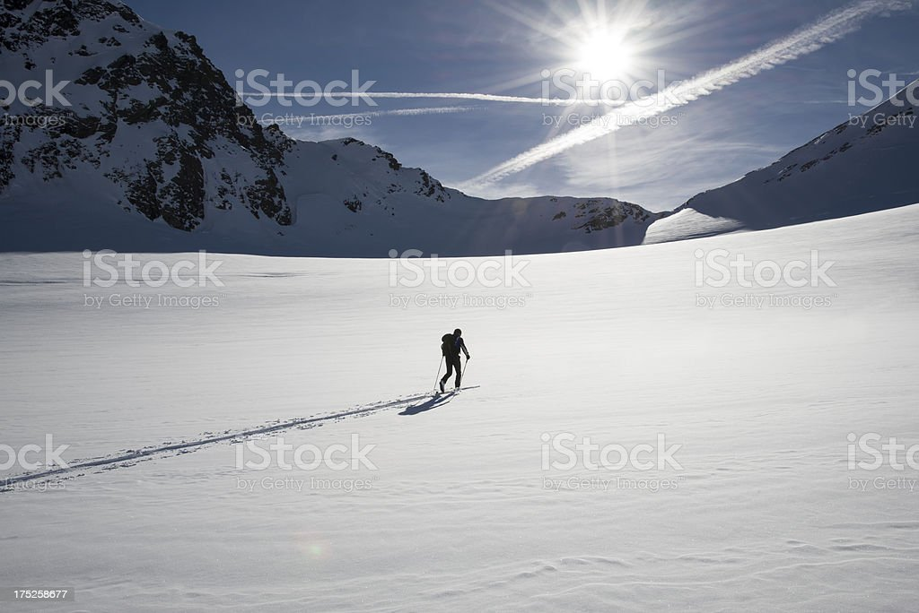 Winter skiing sport in nature stock photo