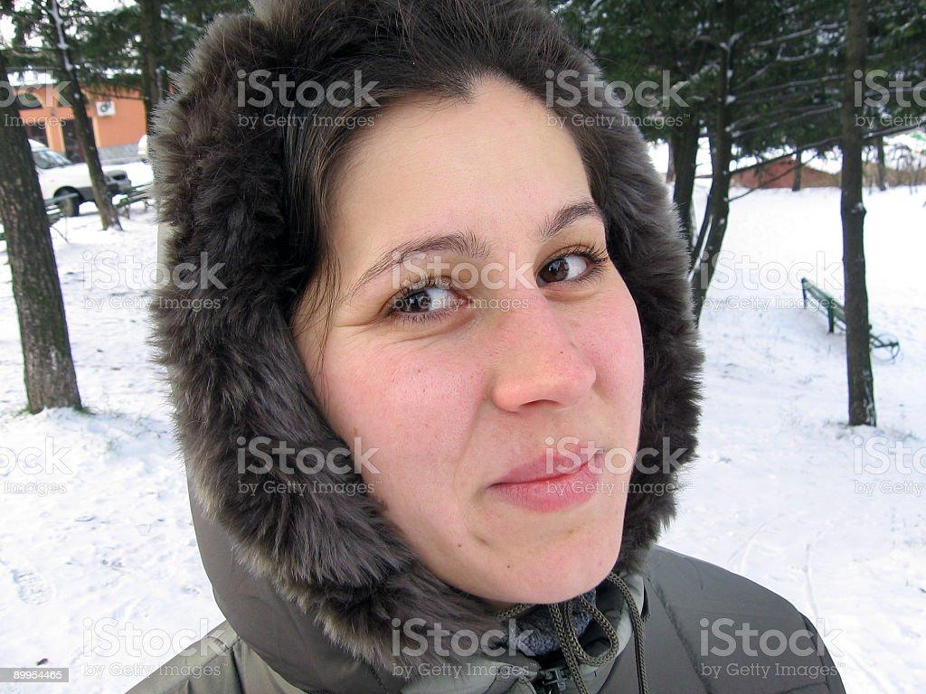 Winter smile stock photo