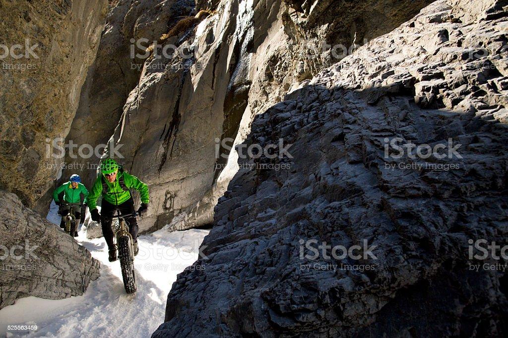 Winter Snow Biking in Canada stock photo