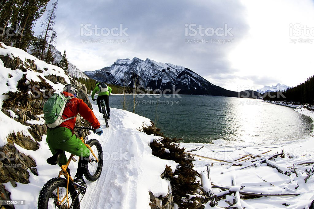 Winter Snow Biking stock photo