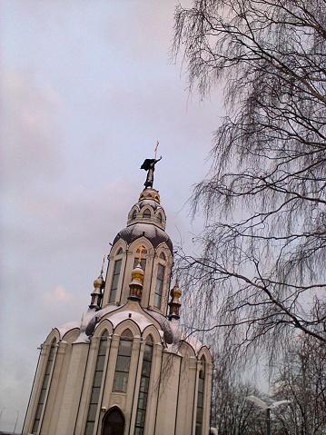 Winter Snow Cloudy Twilight Frozen Orthodox Church