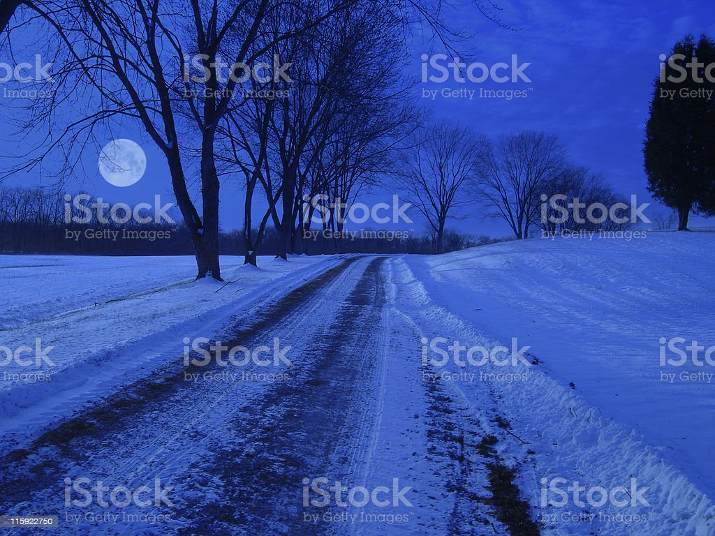 Winter Snow Covered Lane at Night royalty-free stock photo