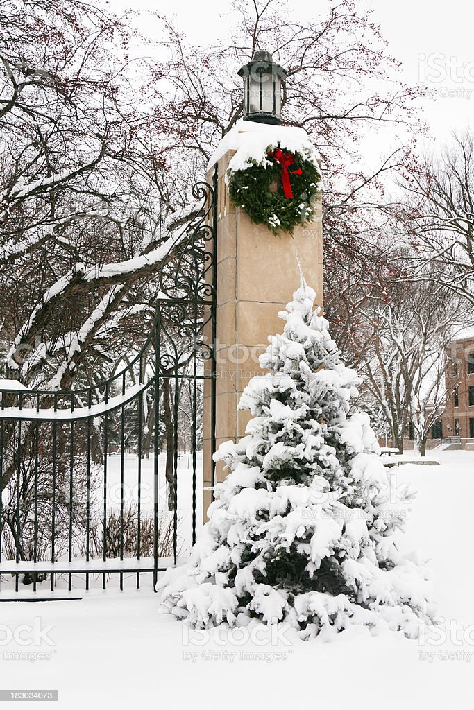 Winter Snow Covered Pine Tree and Christmas Wreath at Gate royalty-free stock photo