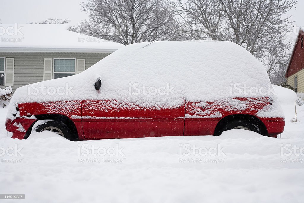 Winter Snow Covering Car royalty-free stock photo