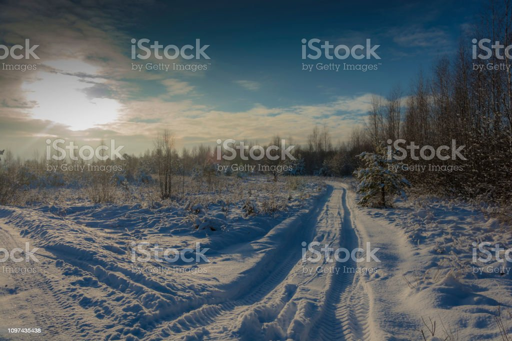 Winter snow landscape in the rays of the setting sun on December day. стоковое фото