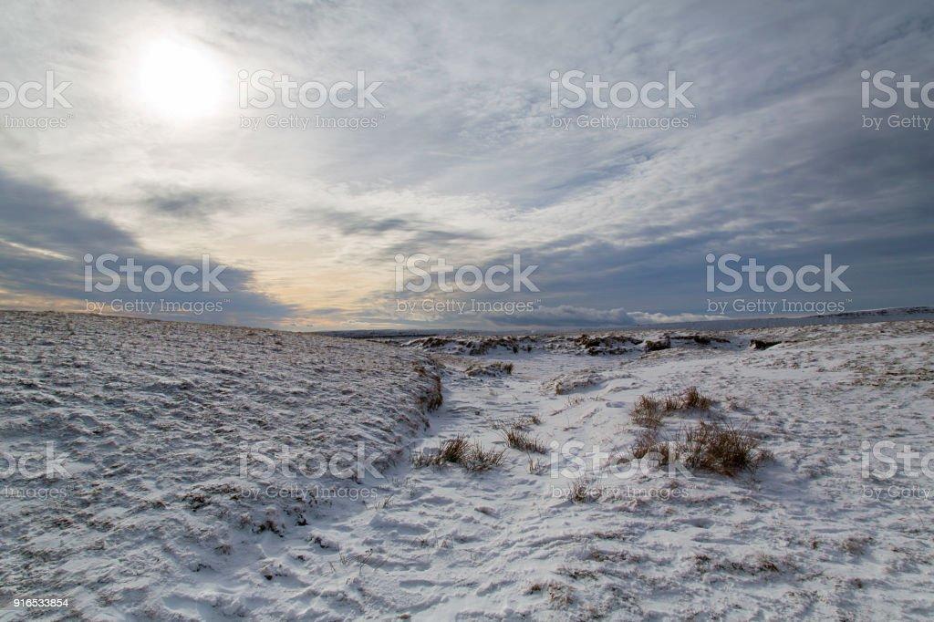 Winter Snow on a mountain escarpment stock photo