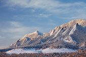 A winter snow on the Boulder Colorado Flatirons.