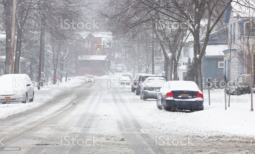 Winter Snow Storm on City Street in Ithaca, New York royalty-free stock photo