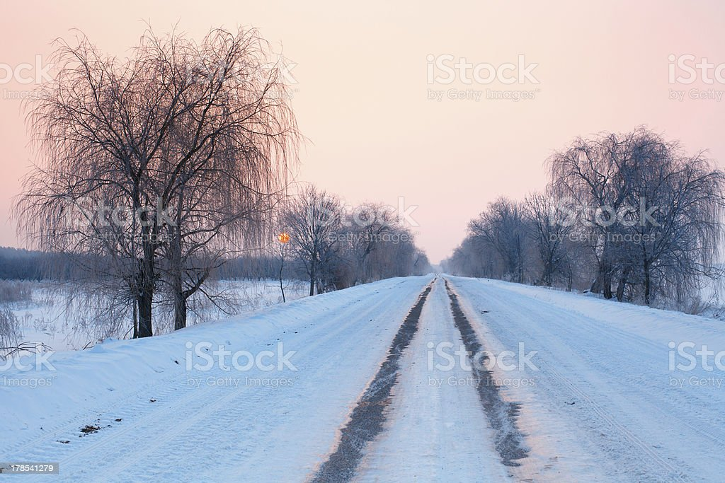 Winter snow-covered country road at dawn royalty-free stock photo