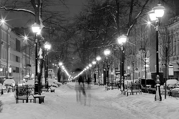 Winter, snowfall - Furshtadskaya street, Saint Petersburg, Russia - foto de stock