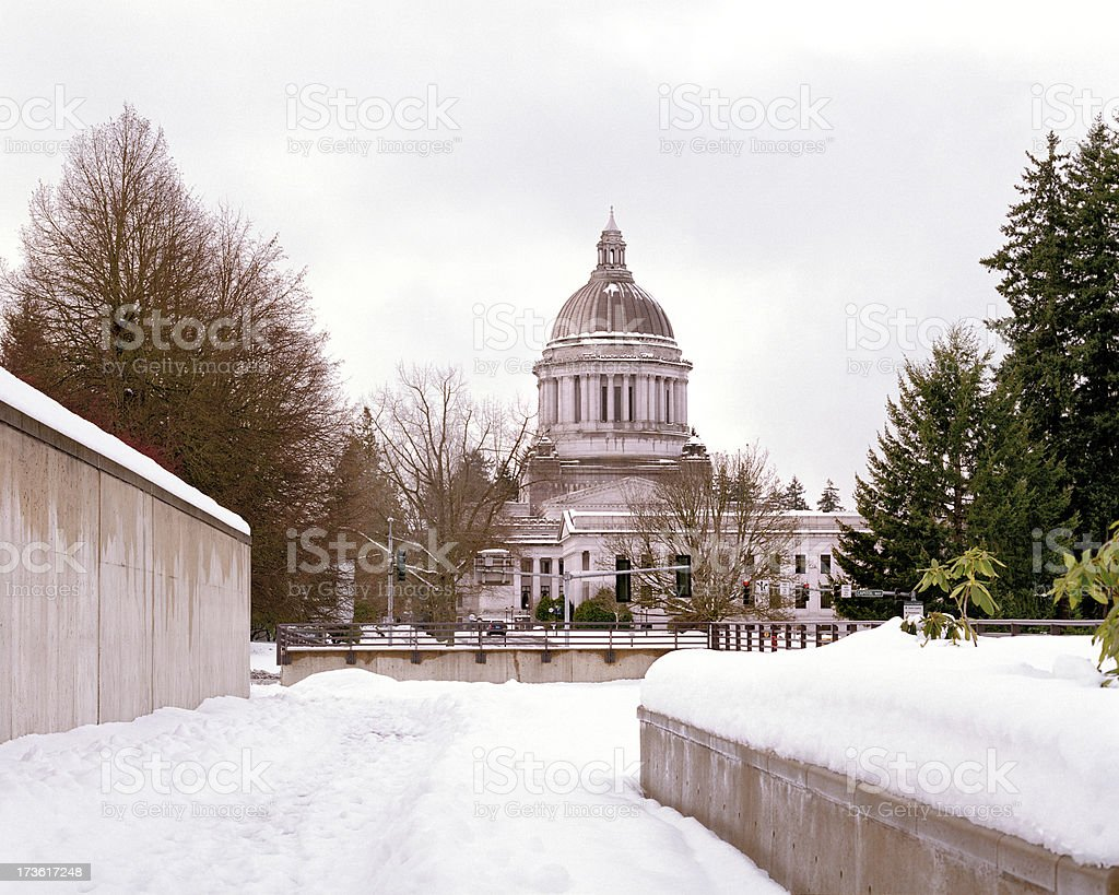Winter Snowfall, Washington State Capital stock photo