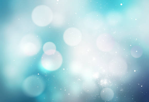 Winter snowy blue blurred background. stock photo