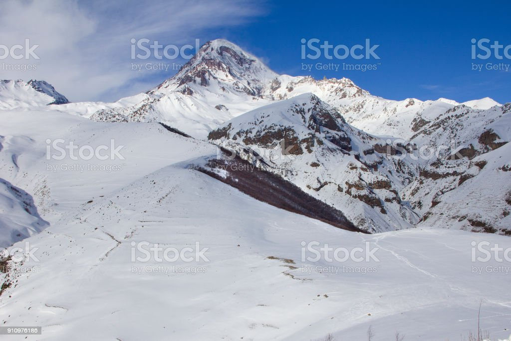 Winter snowy landscape in the Caucasus Mountains Georgia. stock photo