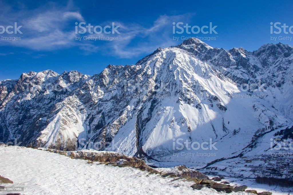 Winter Snowy Landscape In The Caucasus Mountains Georgia