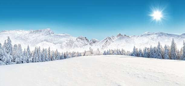 winter snowy landscape - mountain range stock photos and pictures