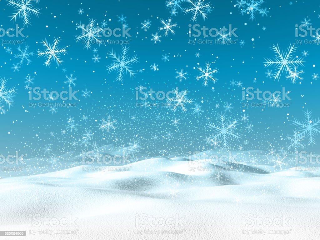3D winter snowy landscape stock photo