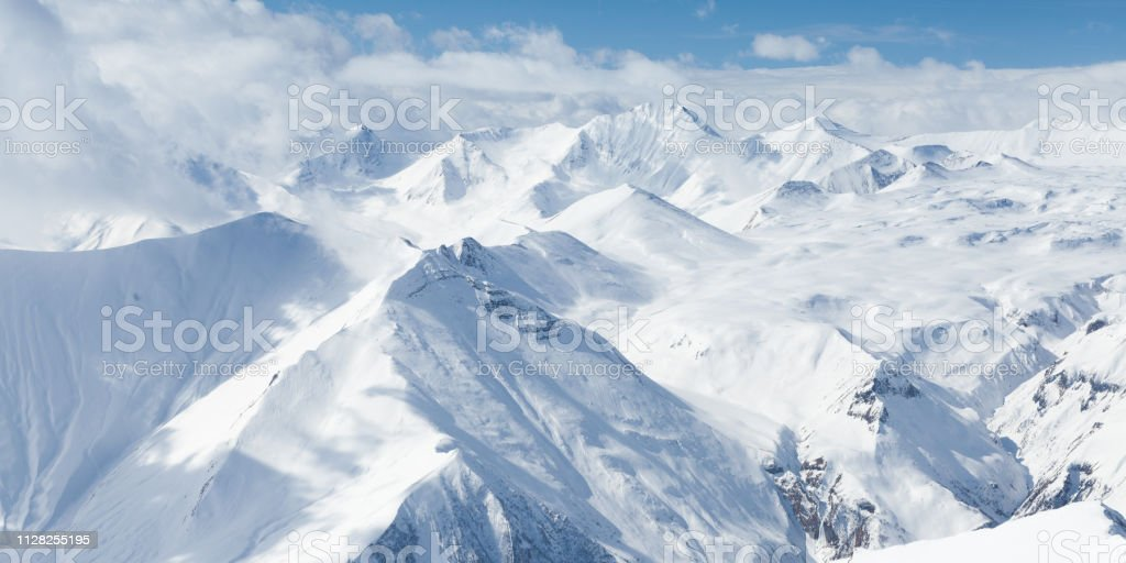 Winter Snowy Mountains Caucasus Mountains Georgia Gudauri