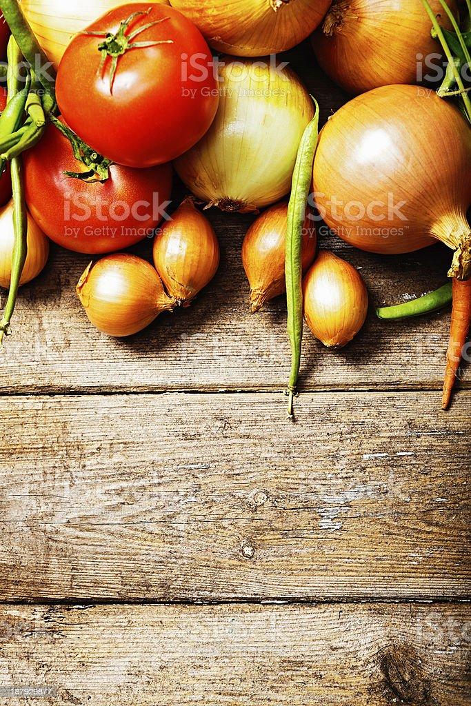 Winter soup ingredients on wood in farmers market stock photo