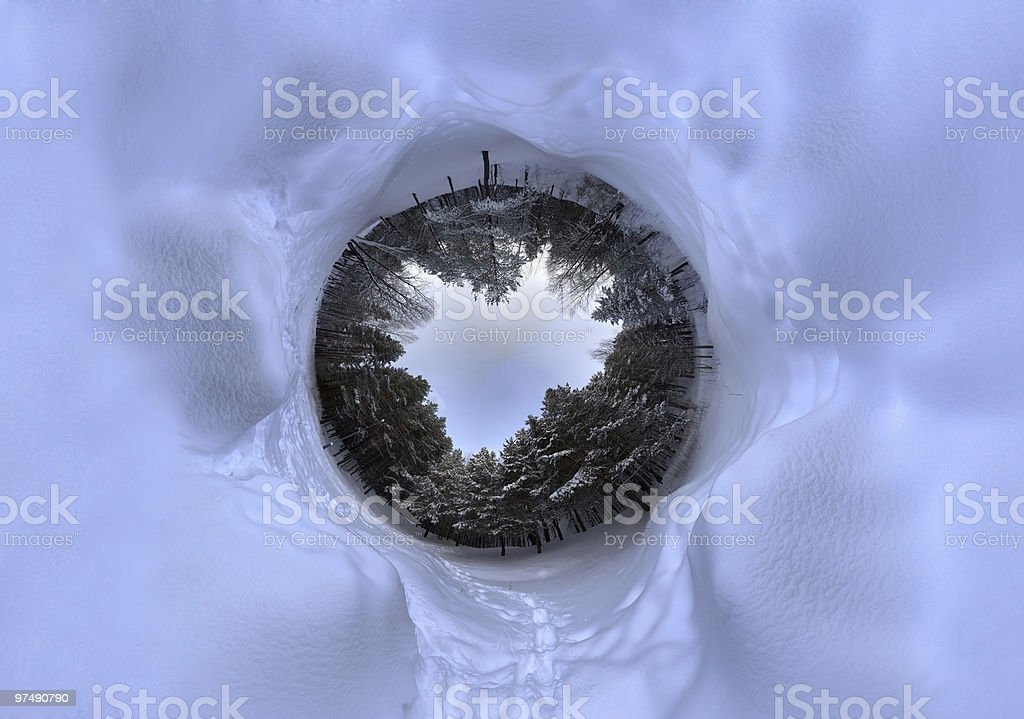 Winter spherical panorama royalty-free stock photo
