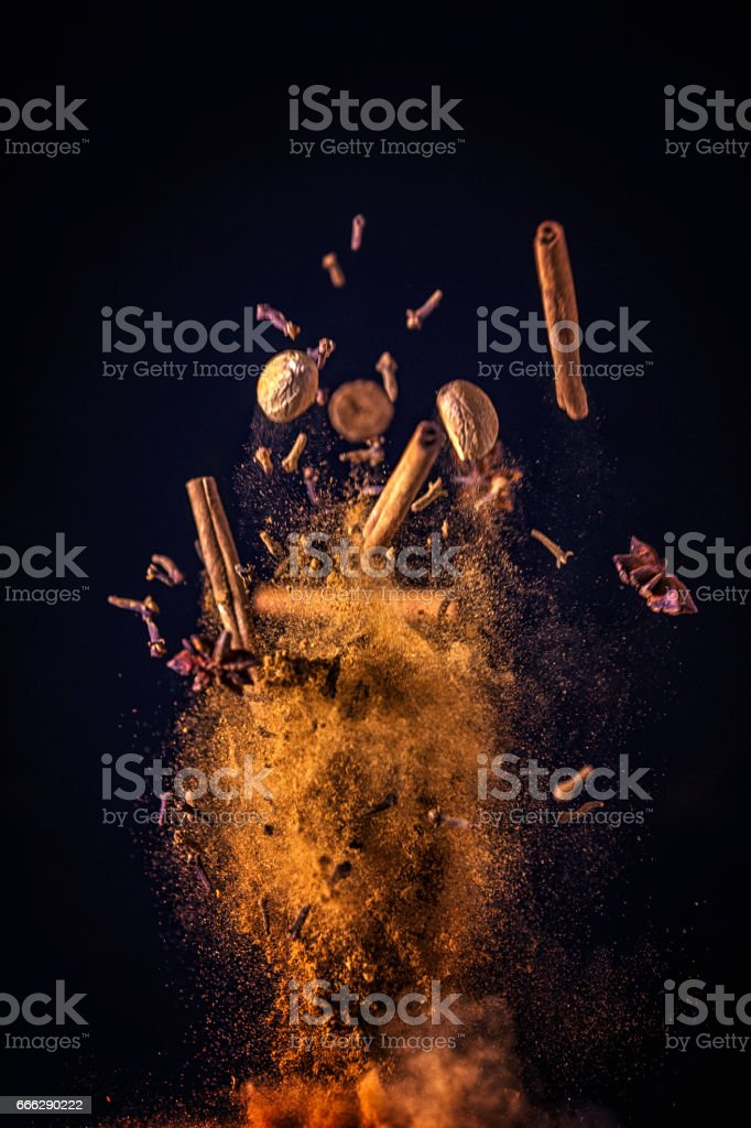 Winter Spice Mix Food Explosion stock photo