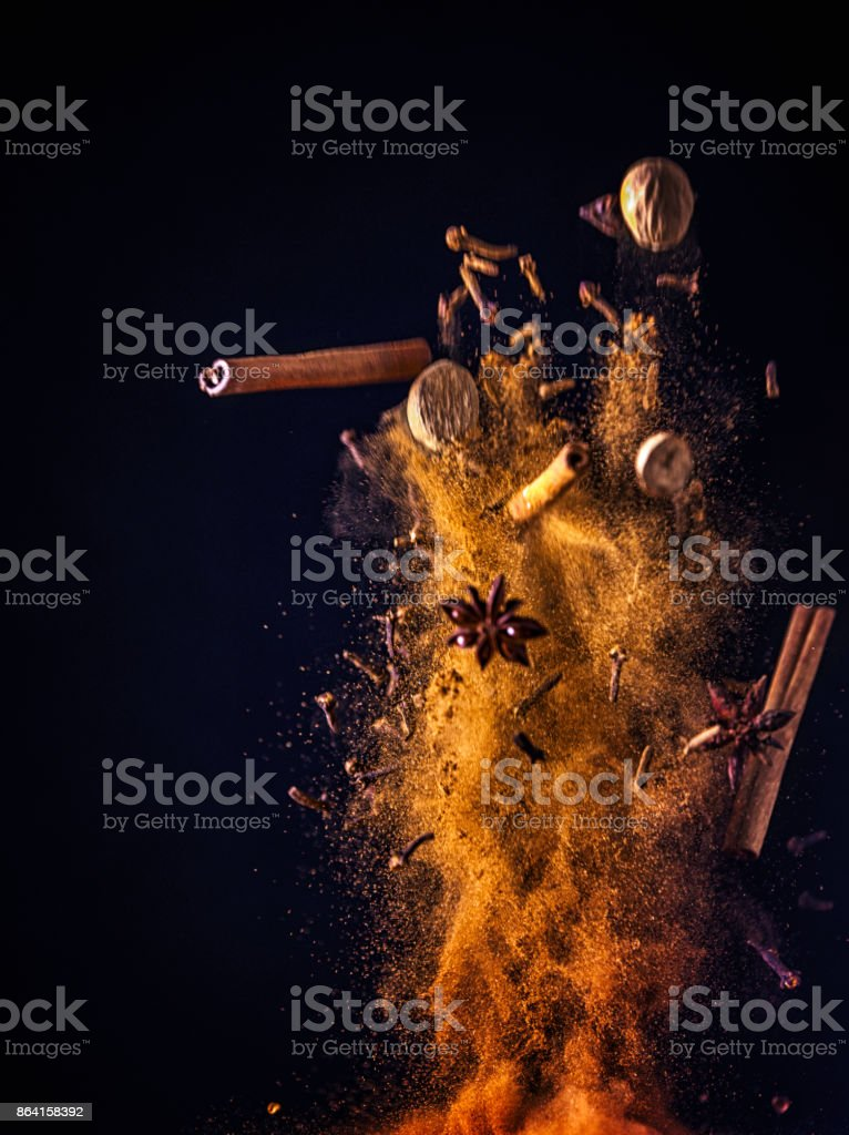 Winter Spice Mix Food Explosion royalty-free stock photo