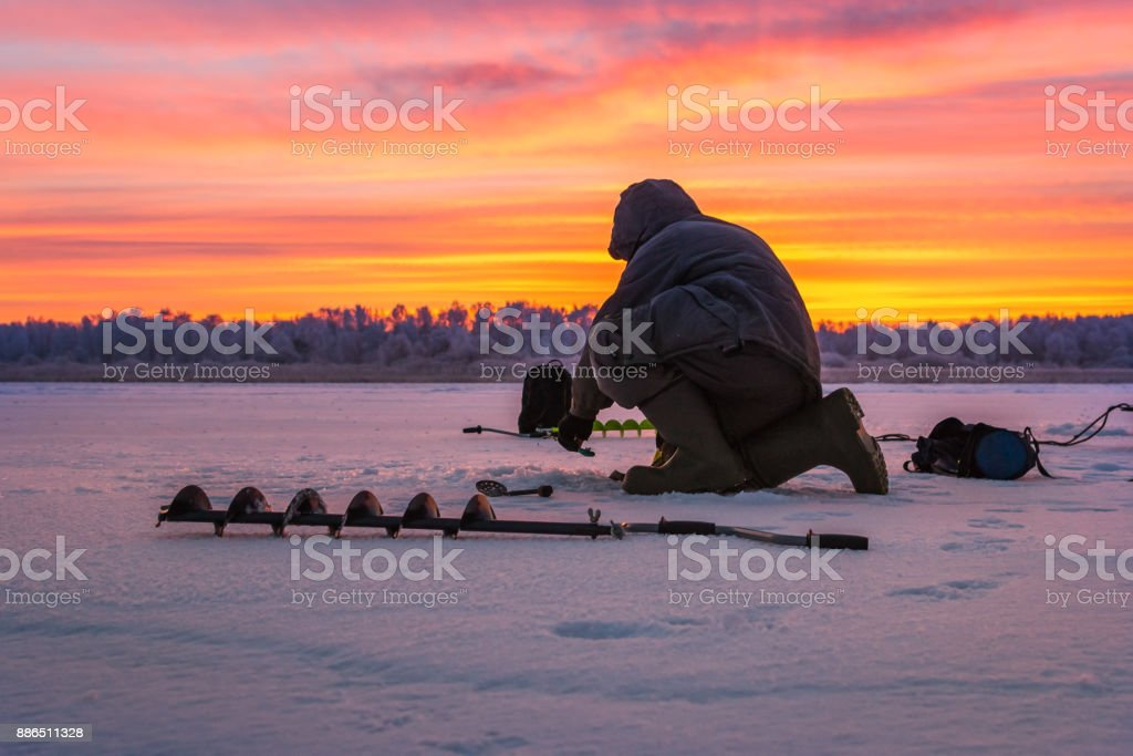 winter sport ice fishing stock photo