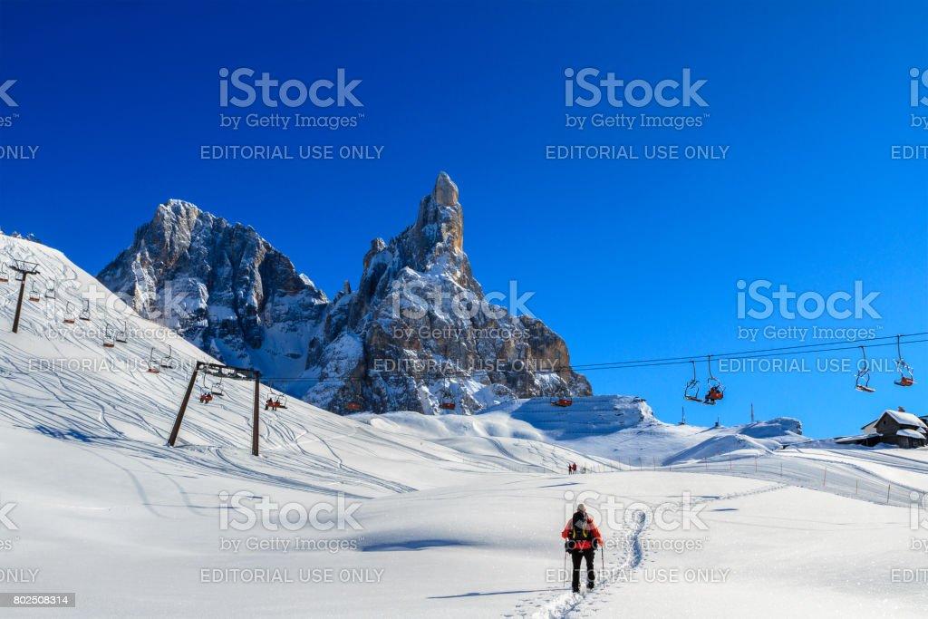 Winter sport in the Pale di San Martino Natural Park, Italy stock photo