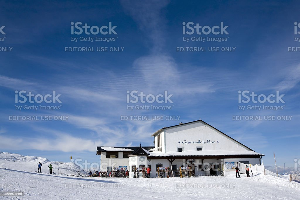 Winter sport Logde with people stock photo