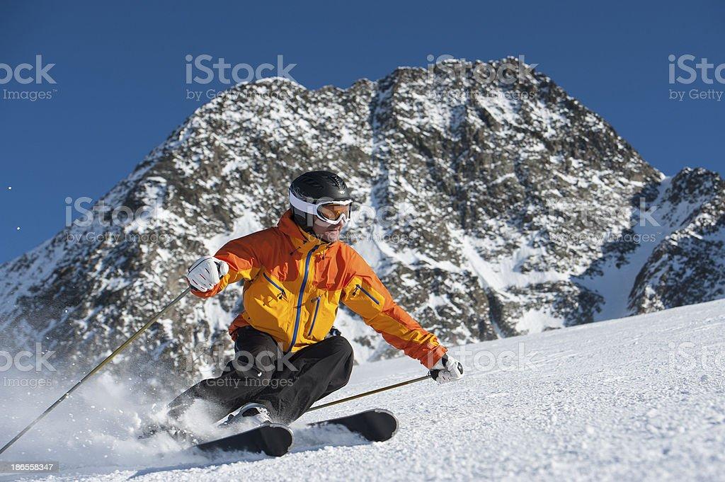 Winter sport skiing stock photo