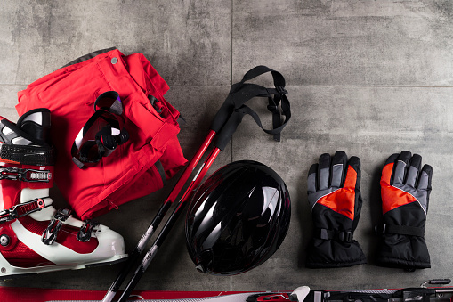 Winter Sport Theme Ski Equipment On Gray Tiles Place For Typography Stock Photo - Download Image Now