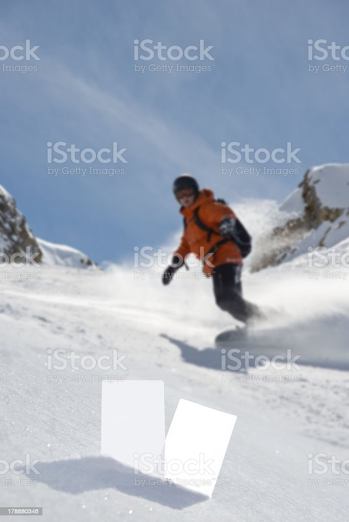 Winter sport tickets and snowboarder royalty-free stock photo
