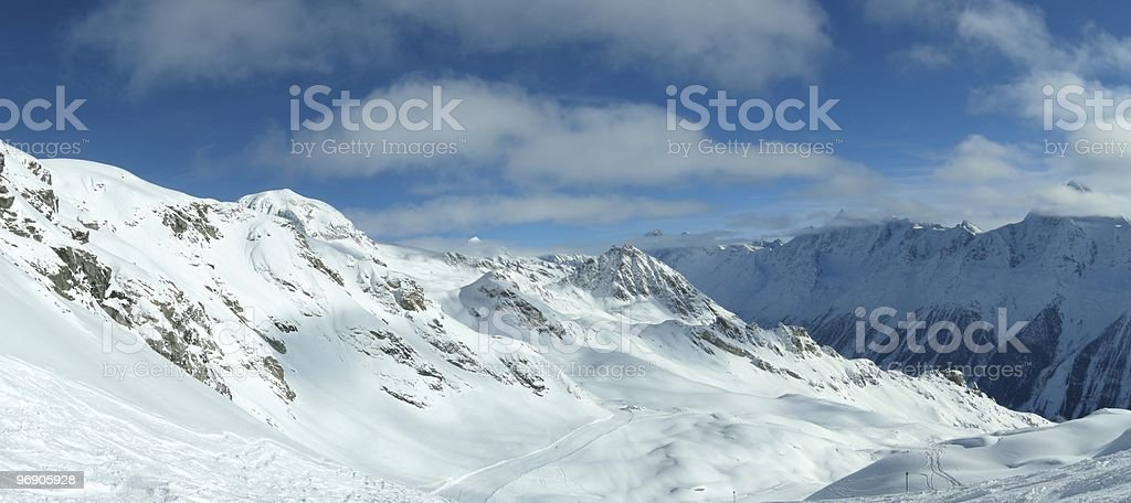 Winter sports on a glacier in the Alps royalty-free stock photo
