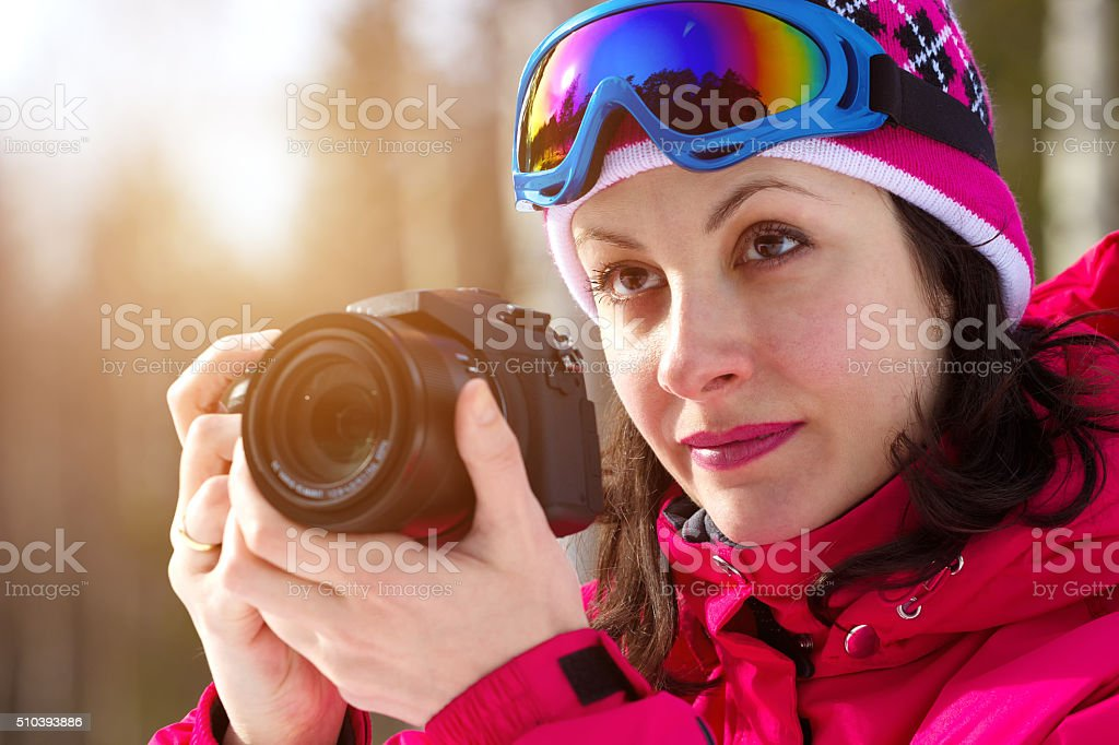 Winter sports photographing stock photo