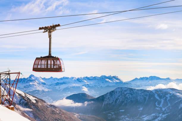 Sports d'hiver Voyage fond avec téléphérique, sommets - Photo