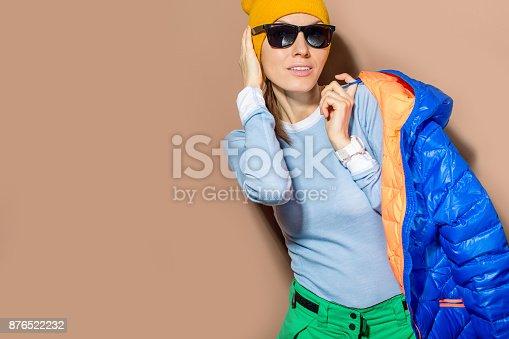 istock Winter sporty girl 876522232