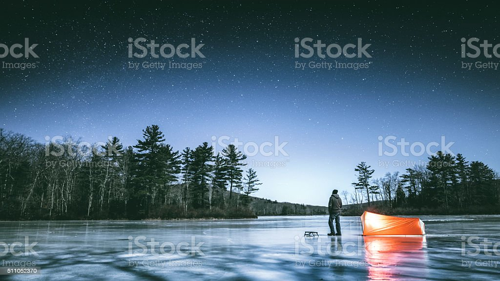 Winter stargazing in Connecticut stock photo