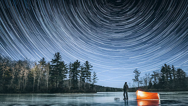 winter stargazing in connecticut - shooting stars stock photos and pictures